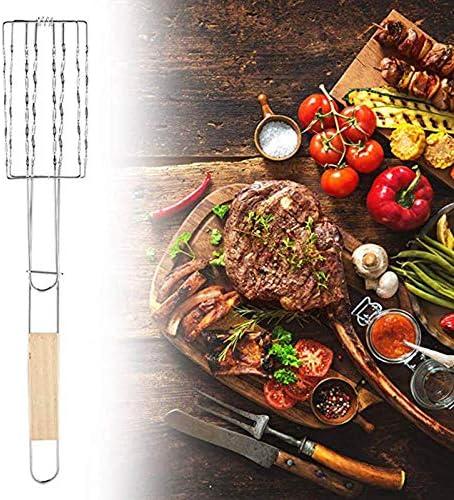 Panier de grillade de Saucisse Barbecue Hot Dog Clip de Maille en métal Support de Barbecue avec poignée en Bois Barbecue Gripper Silver