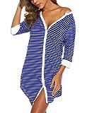 PHIZOI Women's Slip Nightshirt Mini Skirt Nightgown Button Up Sleepshirt S-XXL (X-Large, Blue)