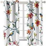 KYLN Flores y pajaros Cortinas de Sombra de Aislamiento térmico 2 Piezas de decoración Aislante Moderna con Arandelas aislantes 168X137cm(66x54IN)