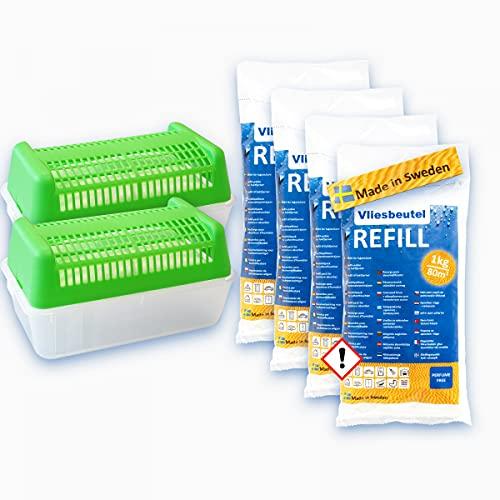 Luftentfeuchter Box rechteckig, grün - für Vlies-Beutel - 2 Boxen + 4kg Luftentfeuchter Granulat Nachfüllpack Raumentfeuchter - Geruchlos & ohne Strom