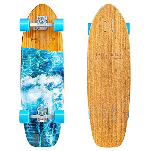 TailorShape LEGIAN Surf Skateboard | 32.5' Bamboo and Canadian Maple SurfSkate Longboard Surf Trainer, for Cruising and Carving (Bamaboo)