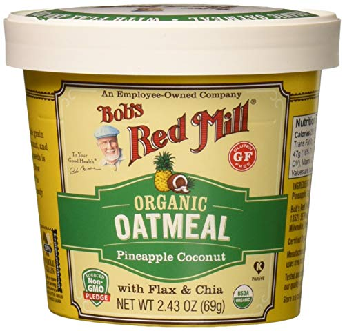 Bob's Red Mill Organic Gluten Free Oatmeal Cup, Pineapple Coconut, 2.43 Oz (Pack of 12)