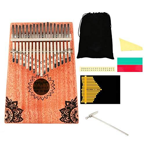 Silverdee 17 Tasten Kalimba Mahagoni Thumb Piano Massivholz Thumb Piano Finger Mini Keyboard Tragbares Instrument für Anfänger
