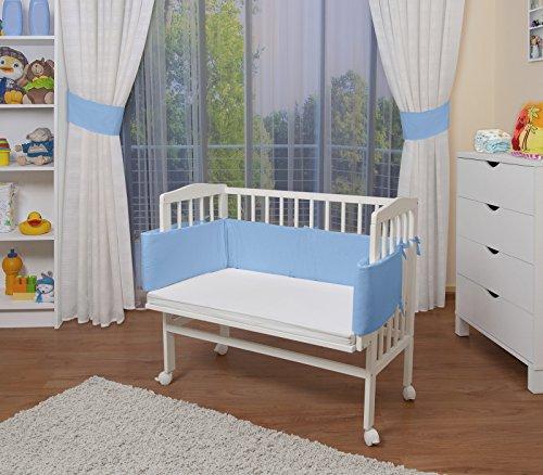 WALDIN Lit cododo pour bébé/berceau avec matelas et tour de lit,bois blanc laqué,16 modèles disponibles,Surface de couchage extra large : L 90 x l 55,couleur du textile bleu