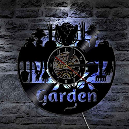 YINU Nature Life Garden Reloj de Pared con Motivo de jardín Arte de Pared Reloj de Pared con Registro de Vinilo Herramienta de jardinería Reloj de Pared Decorativo Regalo de jardineros