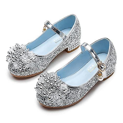 Eleasica Zapato de Lentejuelas Azul con decoración de Bolas de Perlas Princesa Cenicienta para niña Zapatos de Baile Rosas Cosplay Princesa Aurora Regalo Reina Elsa Zapatilla Plateada Tacon Ancho