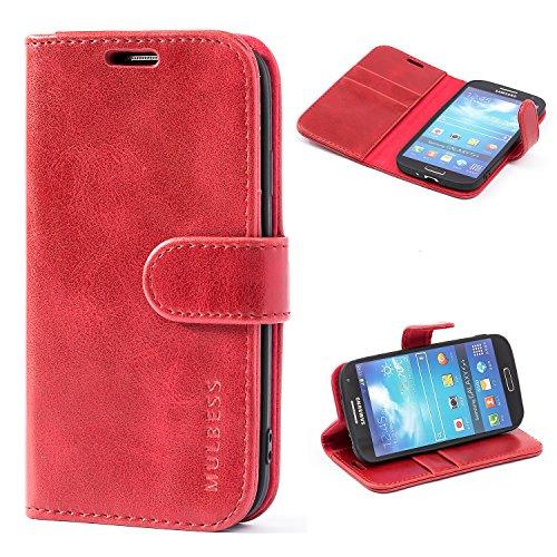 Mulbess Handyhülle für Samsung Galaxy S4 Hülle Leder, Samsung Galaxy S4 Handy Hüllen, Vintage Flip Handytasche Schutzhülle für Samsung Galaxy S4 Case, Wein Rot