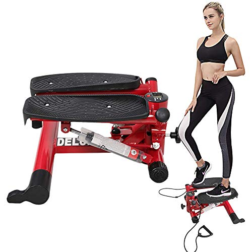 Dporticus Air Stepper Climber Exercise Machine Aerobic Fitness w/Resistance Band for Home Workout Gym (Red)