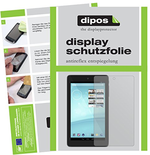 dipos I 2X Schutzfolie matt kompatibel mit Trekstor Surftab Breeze 7.0 Quad Folie Bildschirmschutzfolie