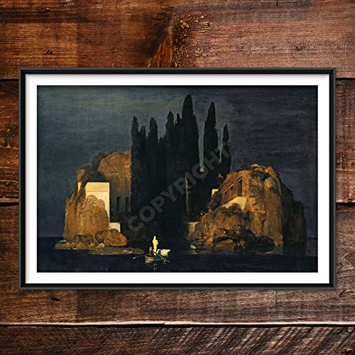Painting Posters Men Arnold Bocklin - Isle of the Dead (1880) - Classic Painting Photo Poster Print Art Gift Wall Home Decor - Island of the Dammed