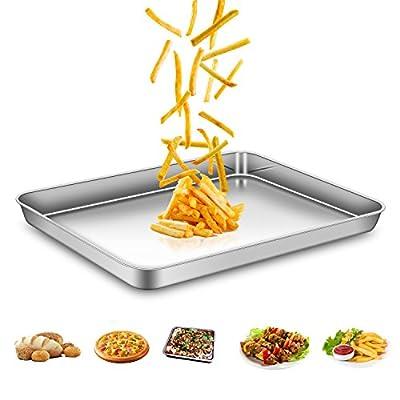 AEMIAO Plaque à Pâtisserie Acier Inox Professionnel Plaque de Cuisson Four pour la Maison Cuisine, Antiadhésive Sain Super Miroir Finition Lave-Vaisselle, 40 x 30 x 2.5 cm
