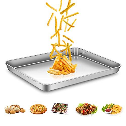 AEMIAO Teglie da Forno In Acciaio Inossidabile, Teglia Rettangolare Bassa per Pane Pizza Torte - Rivestimento Antiaderente/Lavabile in Lavastoviglie/Super Mirror Finish, 40 X 30 X 2.5 cm