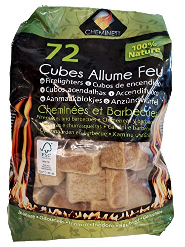 Pyro Feu 15752-12 Cubos de Encendido Ecológicos para chimeneas y Estufas Cheminett Saco 72 Unidades, Marrón