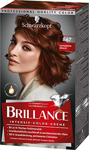 Brillance Intensiv-Color-Creme Haarfarbe 867 Mahagoni-Braun Stufe 3, 3er Pack(3 x 160 ml)