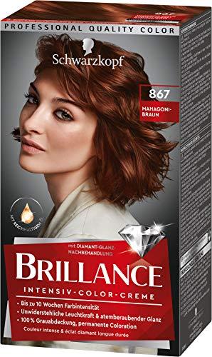 Brillance Intensiv-Color-Creme Haarfarbe 867 Mahagoni-Braun Stufe 3, 3er Pack(3 x 160 ml)