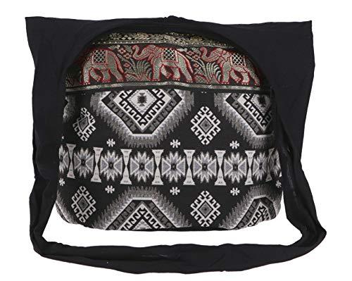 Guru-Shop Sadhu Bolsa, la Bolsa de Hombro, Bolso Hippie Ikat - Negro, Unisex - Adultos, Algodón, Tamaño:One Size, 35x45x20 cm, Sadhu Bolsa, la Bolsa Hippie