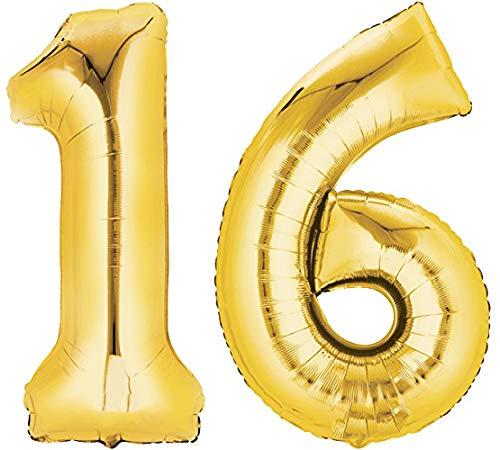 TopTen Folienballon Nummer 16 Gold XXL über 90 cm hoch - Zahlenballon / Luftballon für Geburstagsparty, Jubiläum oder sonstige feierliche Anlässe (Zahl 16)