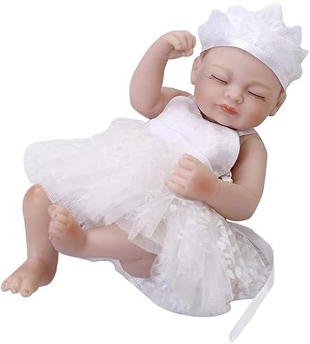 CHENG Simulation Doll Soft Silicone Rebirth Realistic Dolls wasserdicht niedliche Baby Babies Geburtstagsgeschenk,Weiß,25cm