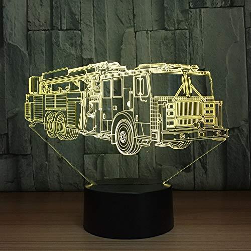 Camión de Bomberos Coche lámpara de Mesa Cambio de Color camión de Bomberos Coche Largo luz Nocturna luz del sueño Dispositivo decoración del Dormitorio Regalo de los niños