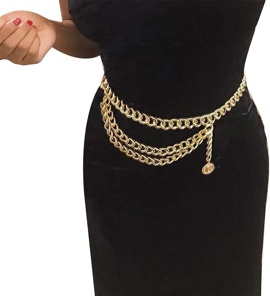 Women Trendy Multilayer Metal Link Waist Chain Waist Belt Long Tassel Belly Chains Waistbands Body Jewelry