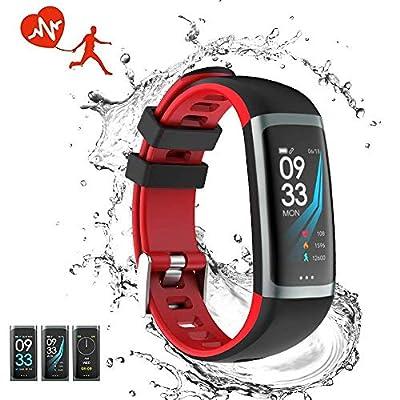 Fitness Tracker Waterproof Smart Watch Wristband Heart Rate Sleep Monitor Blood Pressure Test Multiple Sport Swimming Running Pedometer Men Women Kids Bluetooth iOS Android Phone Activity Tracker