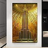 QZROOM Gold Empire State Building Poster Kunst Dekor