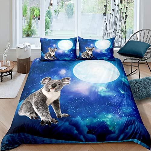 Homewish Koala - Juego de cama para niños, diseño de animales, color azul cielo estrellado