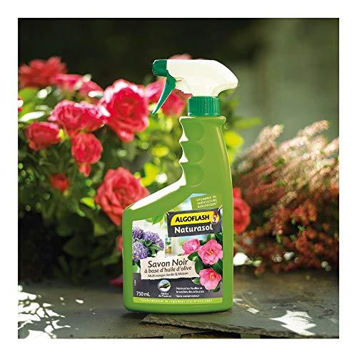 ALGOFLASH NATURASOL Savon Noir prêt à l'emploi, pour jardin, plantes d'intérieur et entretien maison, Pulvérisateur 750 ml, BIOSAPRET750A