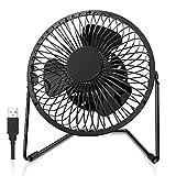 FUNME 5 Inch USB Desk Fan Metal Portable Mini Table Fan with 2 Speeds, Quiet,360 Rotation Desktop Fan Electric for Home Office Outdoor (Black)