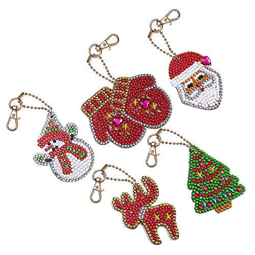 EIYUN Christmas Keychain,5Pcs Beaded Key Ring,Diy 5d Diamond Painting Rhinestone Alloy Gold Keychain Ornaments for Gift