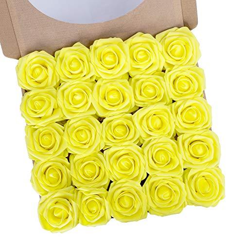 N&T NIETING Künstliche Blumen Rosen, 25 Stück Deko Blumen Fake Rosen mit Stielen DIY Hochzeit Blumensträuße Braut Zuhause Dekoration, Gelb