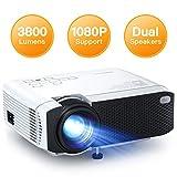 APEMAN Mini projecteur Portable à la Maison, Support HD 1080P, 3800 lumens, Grand écran, Haut-parleurs Doubles, 50 000 Heures, Compatible avec TV Stick, PS4 (câble HDMI/RCA Inclus)