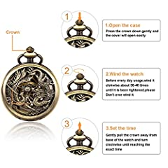 ManChDa Pocket Watch Lucky Dragon & Phoenix Vintage Mechanical Steampunk Skeleton Roman Numerals Black Fob Watch with Chain for Men Women #3