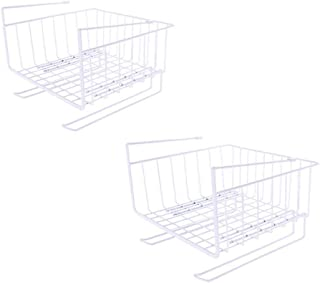 Estantería Multifunción Armario Canasta de almacenaje, 2 Colgantes de Alambre Canasta de almacenaje Caja de almacenaje Cocina, Oficina, Cocina, Baño, Gabinete, Estudio, Habitación para niños