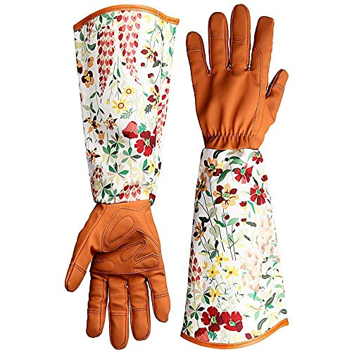 MINGZE Thorn Proof Leather Garden Gloves, Floral Print Pruning Thornproof Gardening Gauntlet with Long Sleeves to Protect Your Arms Until The Elbow, Long Arm Work Gloves Gifts for Women Ladies