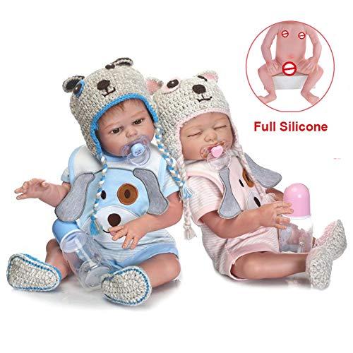 Cpippo 20 Zoll 50 cm Realistische Kaninchen Sanfte Berührung Paar Wiedergeboren Baby Puppe in Silikon Vinyl Ganzkörper Neugeborenen Puppen Zwillinge Wahable für Kinder,Twins