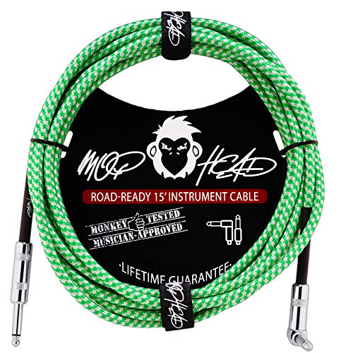 Mophead 15 Foot Double Insulated and Road Ready Braided 1/4in TS to 1/4in TS Guitar and Bass Instrument Cable Right Angle Green and White