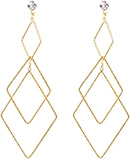 SUHOW Dangler Eardrop Ear line Stud Earring,Simple and Versatile Fashion Long Diamond Earrings