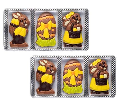 Weibler Confiserie 6 figuras de Pascua de chocolate con leche: 2 x huevo, 2 x conejo con canasta y 2 x conejo con canasta - (60 gramos)