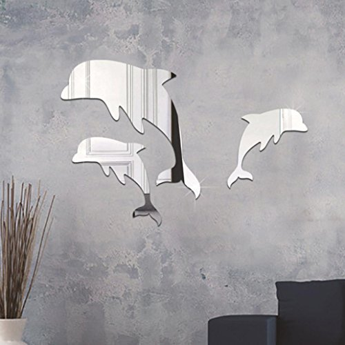 3D Wall Stickers,TPTPT 3D Dolphin Series Mirror Wall Sticker Bedroom Bathroom Home Decor for Kids Art Room Decor (Silver)