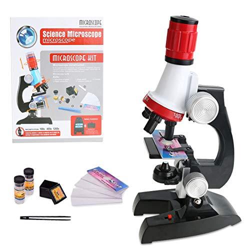 Barakara Microscopio, 100x 400x 1200x Kits de Ciencia, Microscopía Monoculares de Vidrio Optico para Escuela Hogar Biológico Enducación