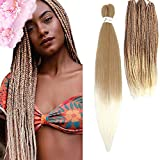 Pre stretched Braiding Hair Ombre Prestretched Braiding Hair Befunny Two Tone Honey Blonde To White 8 Packs 24 Inch Synthetic Crochet Hair For Human Box Braids Crochet Hair,Yaki Straight(T27/613#)