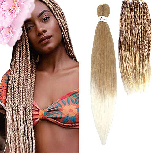Befunny Pre-stretched Braiding Hair Two Tone Honey Blonde To White Pre Stretched/Prestretched Ombre Braid Hair 8 Packs 24 Inch Synthetic Crochet Hair For Human Box Braids,Yaki Straight(T27/613#)