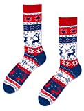 Many Mornings unisex Socken Warm Rudolph, Blau, Weiß, Rot, 43-46