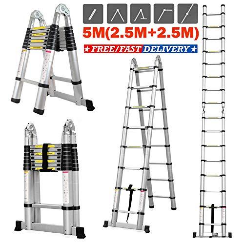 16.4 pies de aluminio telescópica Escalera telescópica Un multi-tipo de extensión fin, las normas EN131 plegable escalera portátil escalera de aluminio Detazhi