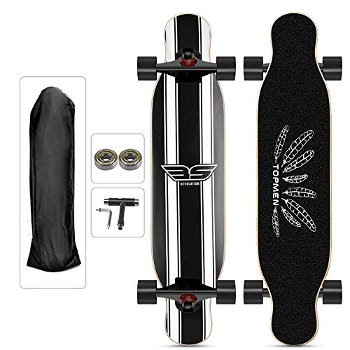 HZTWS Longboard Skateboard 127 × 25cm komplettes Board, High-Speed ​​ABEC Kugellager, 9 Schichten Ahornholz, High-Speed ​​11 ABEC Kugellager, Durchfall Freeride-Skating Cruiser Boards, Jugendli.
