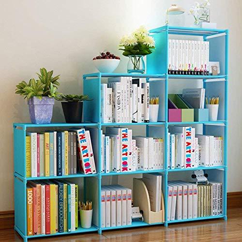 usuallye Estantería organizadora de 9 cubos para almacenamiento, apilable, para dormitorio, sala de estar, oficina (azul)