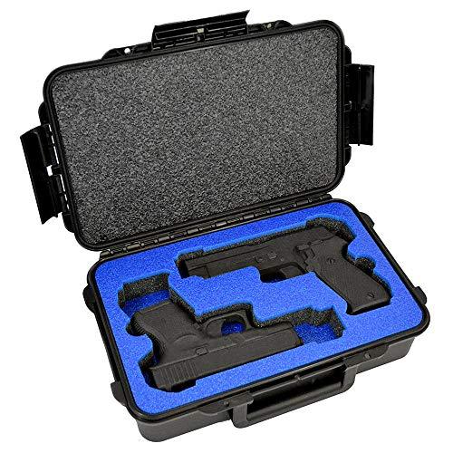 2 Pistol Medium Duty Lightweight 2 Pistol Gun Sport Case – Double Handgun TSA Approved Storage - Doro Case with Military Grade Foam Insert, Blue Topguard