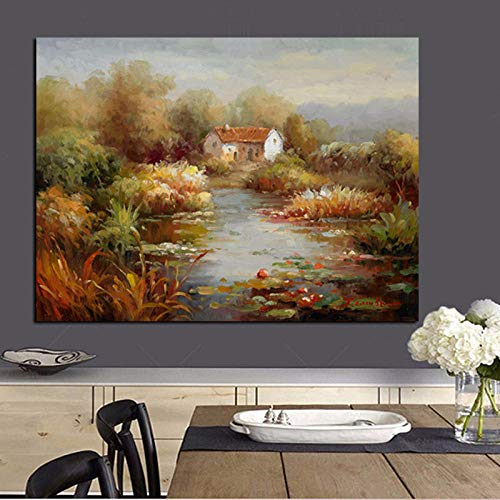 HD Print Abstract Mediterranean Sea Garden Landscape Oil Painting on Canvas Modern Sofa Poster Art Wall Picture for Living Room 50x70cm (no frame)