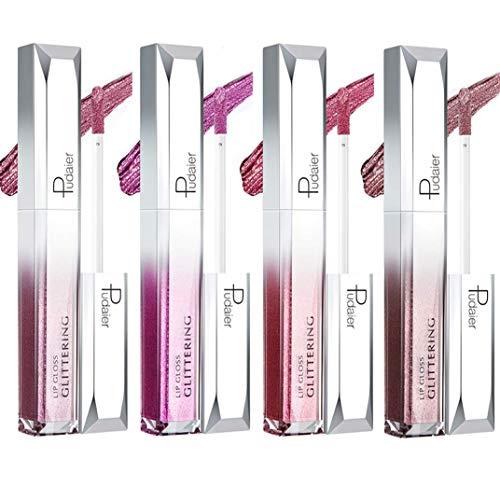 4 Farben Metallic Shimmer Glitter Lipgloss Set, BEEXY Langlebig Wasserdicht Perlglanz Bunt Lipgloss...